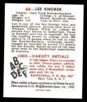 1948 Bowman REPRINT #68  Lee Knorek  Back Thumbnail