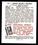 1948 Bowman REPRINT #19  Eddie Ehlers  Back Thumbnail