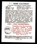 1948 Bowman REPRINT #1  Ernie Calverley  Back Thumbnail