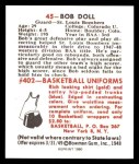 1948 Bowman REPRINT #45  Bob Doll  Back Thumbnail