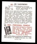 1948 Bowman REPRINT #48  Ed Sadowski  Back Thumbnail