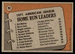 1972 Topps #90   -  Norm Cash / Reggie Jackson / Bill Melton AL HR Leaders   Back Thumbnail