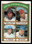 1972 Topps #93   -  Steve Carlton / Fergie Jenkins / Tom Seaver / Al Downing NL Pitching Leaders   Front Thumbnail