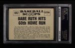 1961 Nu-Card Scoops #447   -   Babe Ruth Babe Ruth Hits 60th Home Run Back Thumbnail