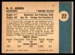 1961 Fleer #22  KC Jones  Back Thumbnail