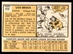 1963 Topps #472  Lou Brock  Back Thumbnail