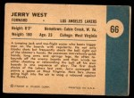 1961 Fleer #66  Jerry West  Back Thumbnail