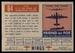1952 Topps Wings #64   F-94 Back Thumbnail