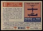 1952 Topps Wings #61   B-47 Stratojet Back Thumbnail