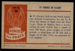 1954 Bowman Power for Peace #34   FJ Furies in Flight Back Thumbnail