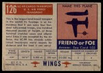1952 Topps Wings #126   XC-99 Cargo transport Back Thumbnail