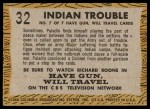 1958 Topps TV Westerns #32   Indian Trouble  Back Thumbnail