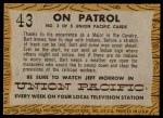 1958 Topps TV Westerns #43   On Patrol  Back Thumbnail