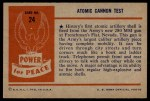 1954 Bowman Power for Peace #24   Atomic Cannon Test Back Thumbnail