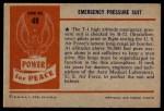 1954 Bowman Power for Peace #49   Emergency Pressure Suit Back Thumbnail