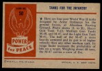 1954 Bowman Power for Peace #50   Tanks for the Infantry Back Thumbnail