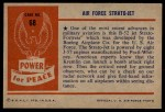 1954 Bowman Power for Peace #68   Air Force Stratojet Back Thumbnail