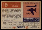 1952 Topps Wings #139   PBM-5 Mariner Back Thumbnail