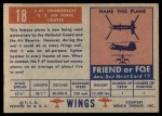 1952 Topps Wings #18   F-47 Thunderbolt Back Thumbnail