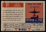 1952 Topps Wings #91   IL-18 Back Thumbnail