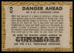 1958 Topps TV Westerns #8   Danger Ahead  Back Thumbnail