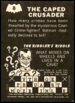 1966 Topps Batman -  Riddler Back #8 RID  The Caped Crusader Back Thumbnail