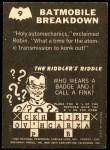 1966 Topps Batman -  Riddler Back #9 RID  Batmobile Breakdown Back Thumbnail