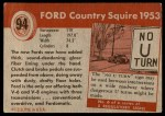 1954 Topps World on Wheels #94   Ford Country Squire 1953 Back Thumbnail
