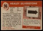 1954 Topps World on Wheels #96   Healey Silverstone Back Thumbnail