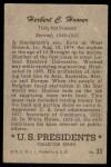 1952 Bowman U.S. Presidents #33  Herbert Hoover  Back Thumbnail