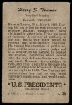 1952 Bowman U.S. Presidents #35  Harry S Truman   Back Thumbnail