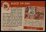 1954 Topps World on Wheels #95   Buick XP-300 Back Thumbnail