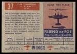 1952 Topps Wings #37   C-46 Commando Back Thumbnail