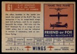 1952 Topps Wings #61   B-47 Stratojet Back Thumbnail