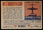 1952 Topps Wings #69   C-119 Packet Back Thumbnail