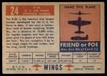 1952 Topps Wings #24   B-36 Back Thumbnail