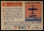 1952 Topps Wings #33   F-84F Back Thumbnail