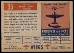 1952 Topps Wings #35   Firefly Back Thumbnail