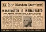 1954 Topps Scoop #51   Washington Inaugurated Back Thumbnail