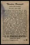 1952 Bowman U.S. Presidents #28  Theodore Roosevelt  Back Thumbnail