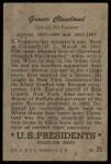 1952 Bowman U.S. Presidents #25  Grover Cleveland  Back Thumbnail