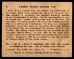 1941 Gum Inc. War Gum #9   Admiral Thomas Charles Hart Back Thumbnail
