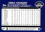 2003 Topps Traded #4 T Greg Vaughn  Back Thumbnail