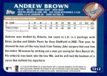 2003 Topps Traded #212 T  -  Andrew Brown First Year Back Thumbnail