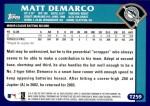 2003 Topps Traded #259 T  -  Matt DeMarko First Year Back Thumbnail