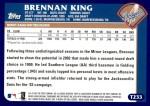 2003 Topps Traded #233 T  -  Brennan King First Year Back Thumbnail