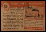 1954 Topps World on Wheels #49   The Long Island Automotive Museum Back Thumbnail
