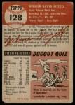 1953 Topps #128  Wilmer Mizell  Back Thumbnail