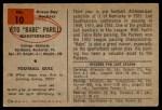 1954 Bowman #10  Vito Babe Parilli  Back Thumbnail