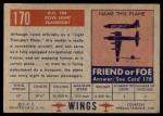 1952 Topps Wings #170   D.H. 104 Dove Light Transport Back Thumbnail